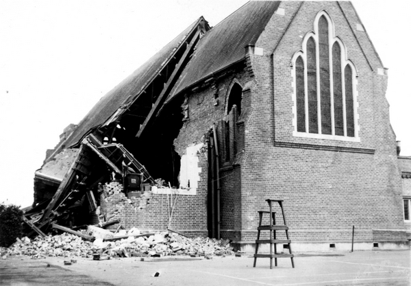 Second St Matthew's Church, showing substantial earthquake damage
