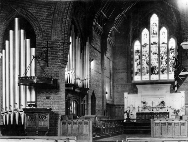 Chancel, organ and sanctuary of second St Matthew's Church