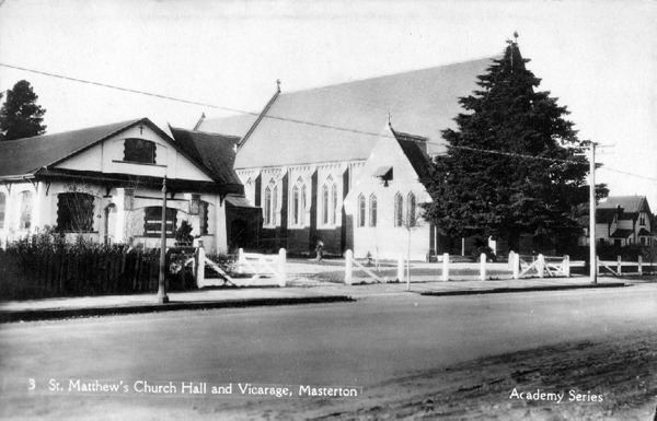 Second St Matthew's Church, with the 1922 Parish Hall to the left